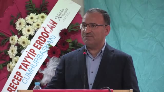 Turkish deputy Prime Minister Bekir Bozdag speak at Justice and Development Party's ordinary district congress in Yozgat Turkey on January 07 2018...