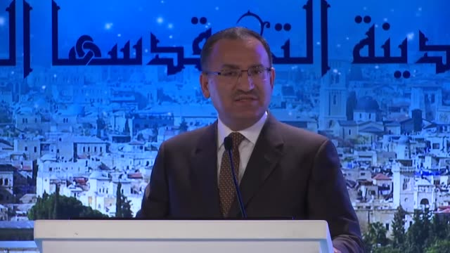 Turkish Deputy Prime Minister Bekir Bozdag speaks at an international meeting on Jerusalem on January 29 2018 in Istanbul Turkey It is irrational to...