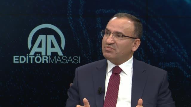 Turkish Deputy Prime Minister Bekir Bozdag speaks at Anadolu Agency's Editor's Desk in Ankara Turkey on November 30 2017 Deputy PM on Thursday said...