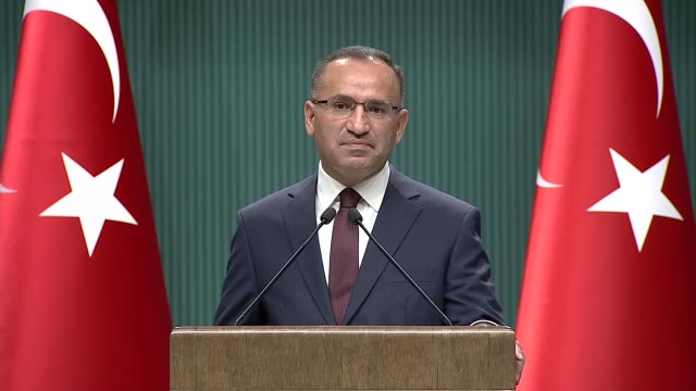 Turkish deputy Prime Minister Bekir Bozdag speaks to reporters during a press conference in Ankara Turkey on November 20 2017 Turkey's deputy prime...