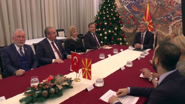 Turkish deputy Prime Minister Hakan Cavusoglu is received by Macedonian President Gjorge Ivanov in Skopje Macedonia on December 21 2017