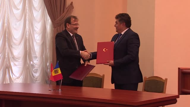 Turkish deputy Prime Minister Hakan Cavusoglu meets with his Moldovan counterpart and Economy Minister Octavian Calmic within framework of a Joint...