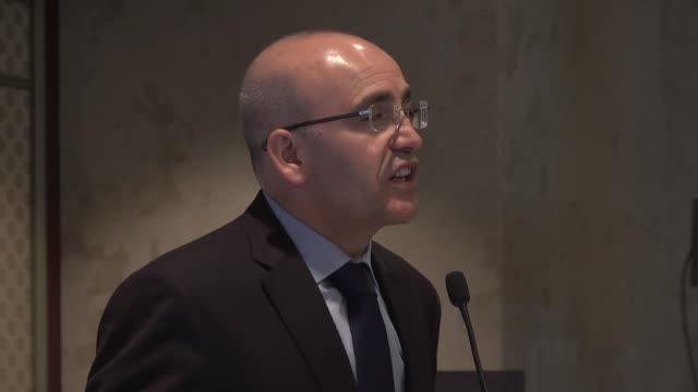 turkish deputy prime minister mehmet simsek delivers a speech at the 7th bosphorus summit in istanbul turkey on november 29 2016 - november stock videos & royalty-free footage