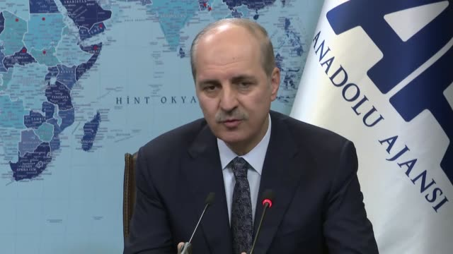 turkish deputy prime minister numan kurtulmus speaks talks to journalists at anadolu agency's editors' desk in ankara turkey on march 22 2017... - government minister stock videos & royalty-free footage