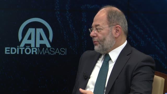 Turkish Deputy Prime Minister Recep Akdag answers the journalists' questions at Anadolu Agency Editors' Desk in Ankara Turkey on February 28 2018...