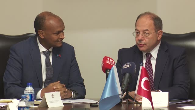 Turkish Deputy Prime Minister Recep Akdag receives Somalia's Deputy Prime Minister Mahdi Mohammed Gulaid and Somalian officials at Cankaya palace on...