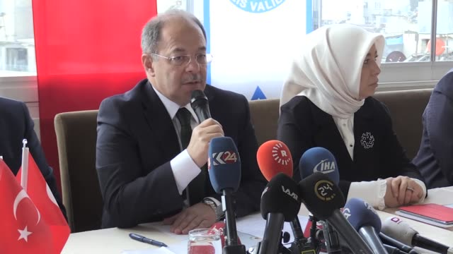 Turkish Deputy Prime Minister Recep Akdag talks to reporters in border province of Kilis after a meeting with representatives of political parties as...