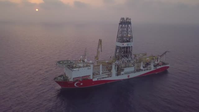 turkish drilling vessel yavuz started its operations at the karpaz-1 well located in the bay of gazimagusa, also known as famagusta, in the turkish... - cyprus island stock videos & royalty-free footage
