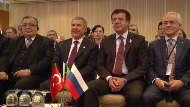 Turkish Economy Minister Nihat Zeybekci and Rustam Minnikhanov the President of Tatarstan in the Russian Federation attend the TurkeyTatarstan...