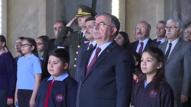 turkish education minister ismet yilmaz and children visit anitkabir the mausoleum of turkish republic's founder mustafa kemal ataturk during a... - mausoleum stock videos and b-roll footage