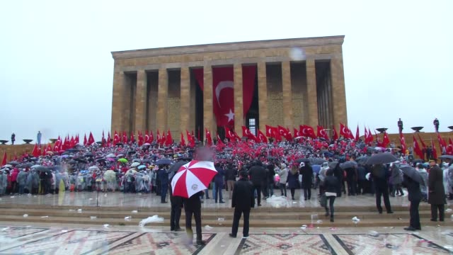 Turkish Education Minister Ismet Yilmaz his accompanying delegation and children visit Anitkabir the mausoleum of Turkish Republic's founder Mustafa...