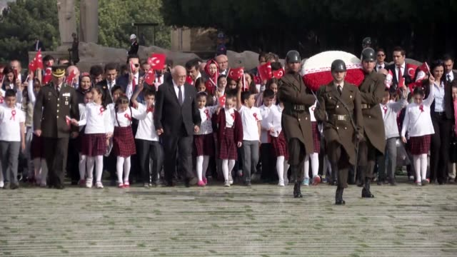 turkish education minister nabi avci visits to ataturk's mausoleum anitkabir alongside children to mark 96th anniversary of the foundation of the... - mausoleum stock videos and b-roll footage