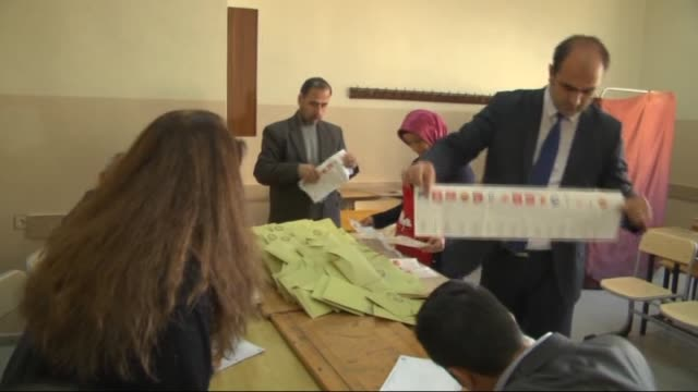 turkish election officials open ballot boxes to count votes after the polling ended in the 26th general election at a polling station in gaziantep,... - 2015 stock videos & royalty-free footage