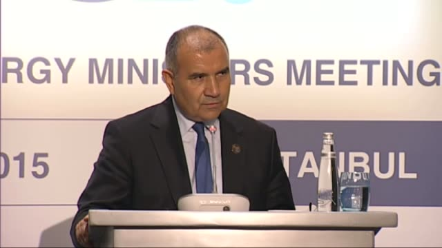 turkish energy and natural resources minister ali riza alaboyun answers journalists' questions following g20 energy ministers meeting on october 02... - punctuation mark stock videos & royalty-free footage