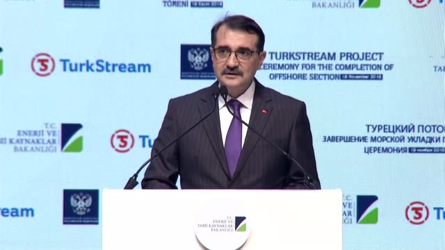 Turkish Energy and Natural Resources Minister Fatih Donmez speaks at the completion ceremony of TurkStream gas pipeline's offshore section at...