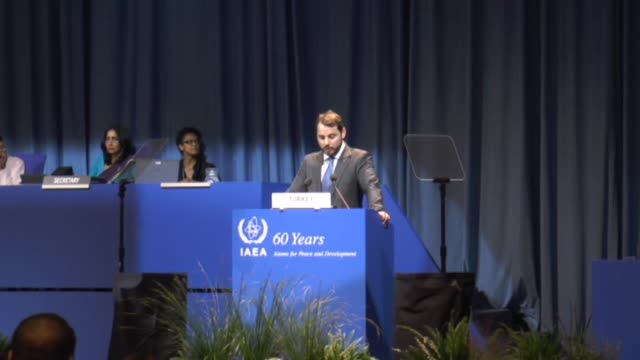 turkish energy minister berat albayrak delivers a speech during annual week-long meeting of 60th general conference of international atomic energy... - annual general meeting stock videos & royalty-free footage