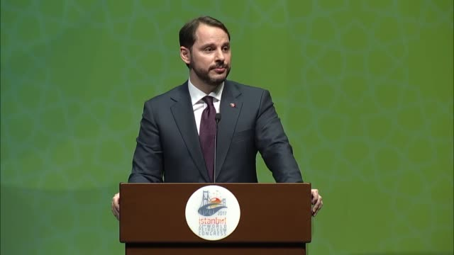 Turkish Energy Minister Berat Albayrak delivers a speech during the 22nd World Petroleum Congress in Istanbul on July 09 2017 Albayrak speaking at...