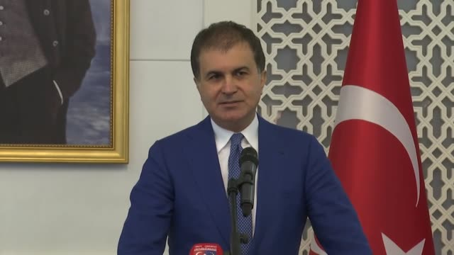 turkish eu affairs minister omer celik speaks at a joint press conference with british minister of state for europe and the americas alan duncan... - alan duncan stock-videos und b-roll-filmmaterial