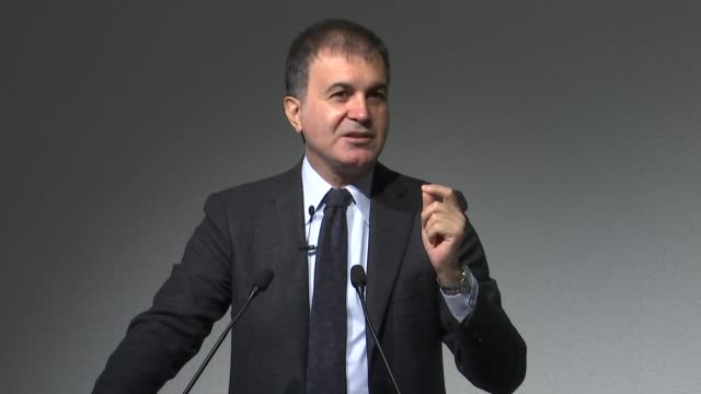"""Turkish EU Minister Omer Celik delivers a speech during """"Europe Our Common Future a Turkish Perspective"""" moderated by Aap Neljas Senior Researcher of..."""