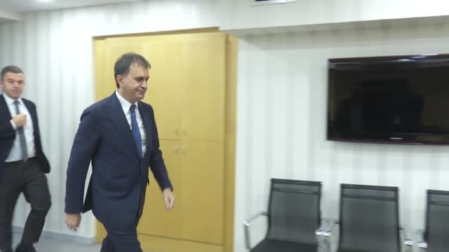 turkish eu minister omer celik receives chairperson of the european affairs committee at croatia's parliament domagoj ivan milosevic in ankara,... - chairperson stock videos & royalty-free footage