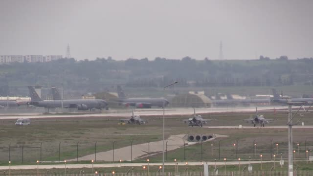 Turkish fighter jets are seen taking off from the Incirlik base in southern Adana province towards Syria on January 21 2018 According to information...