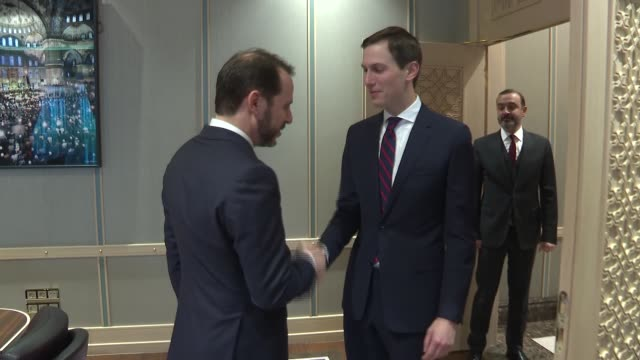 turkish finance and treasury minister berat albayrak meets with us president donald trump's senior adviser jared kushner in ankara turkey on february... - finanzministerium stock-videos und b-roll-filmmaterial