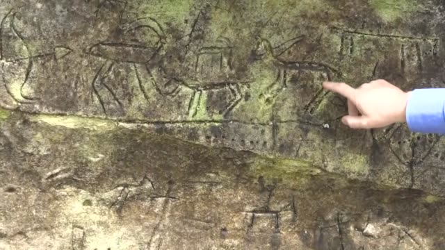 stockvideo's en b-roll-footage met turkish fishermen discovered cave drawings dating back to the paleolithic era in southeastern adiyaman province of turkey on october 12 2018 the... - geproduceerd segment