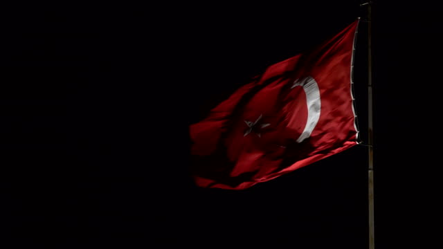 turkish flag at night - turkey middle east stock videos and b-roll footage