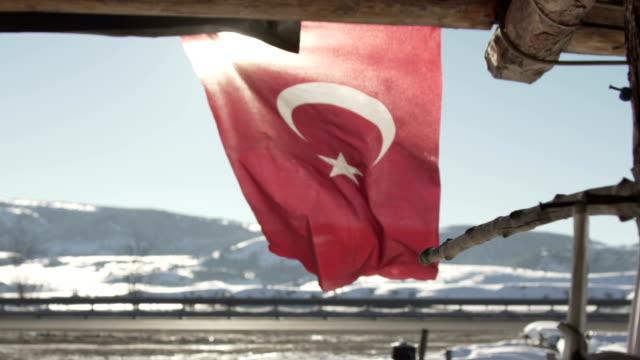 vidéos et rushes de turkish flag in slow motion - drapeau turc
