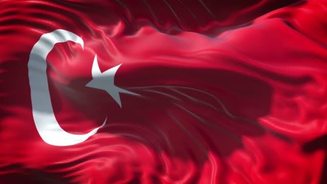 vidéos et rushes de le drapeau turc agite lentement en pleine résolution 4k en plein écran - drapeau turc
