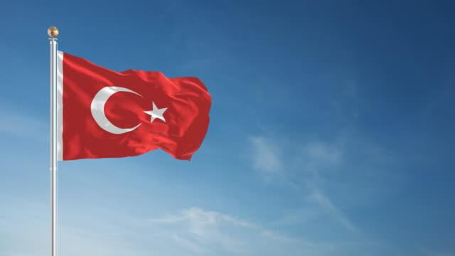 vidéos et rushes de 4 k drapeau turc-bouclables - poteau d'appui