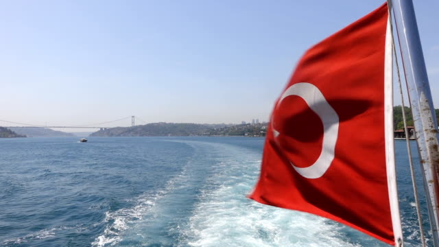 turkish flag of the ship in istanbul - marmara stock videos and b-roll footage