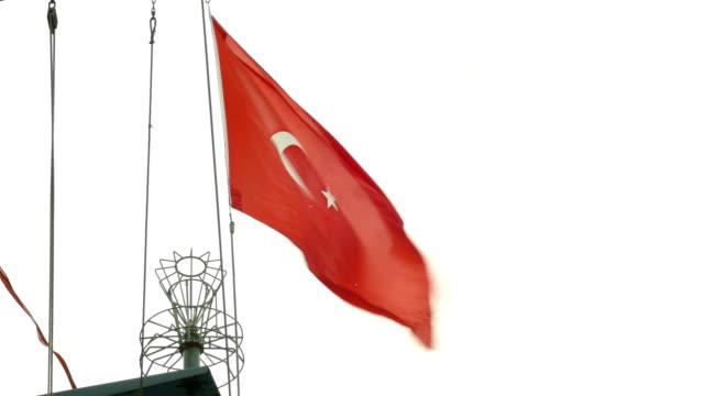 vidéos et rushes de drapeau turc sur un navire de guerre - drapeau turc