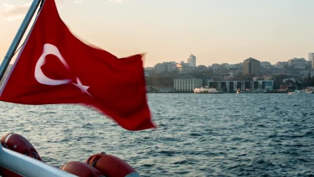 turkish flag - bosphorus stock videos & royalty-free footage
