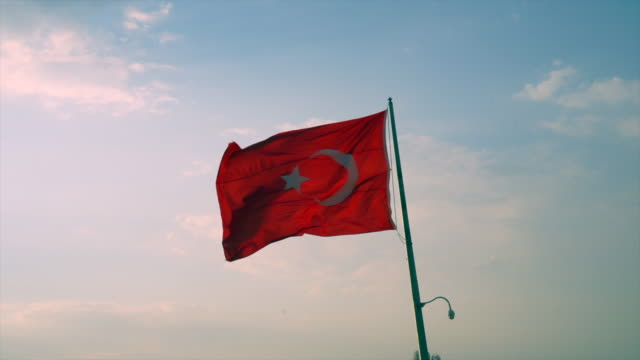 4k turkish flag - byakkaya stock videos and b-roll footage