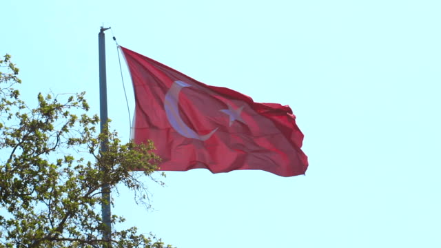 トルコの旗が旗を振っています。 - 旗棒点の映像素材/bロール