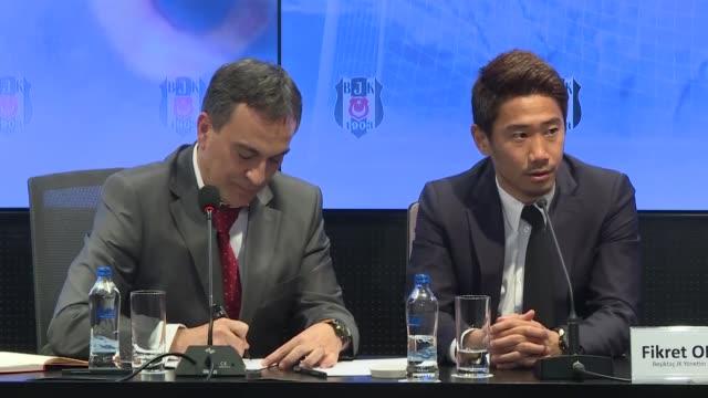 Turkish football club Besiktas hold official signing ceremony for Japanese international superstar Shinji Kagawa at Vodafone Park Stadium in Istanbul...