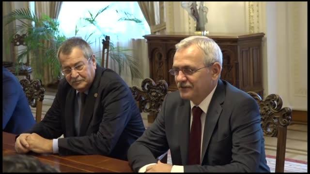 Turkish Foreign Affairs Minister Mevlut Cavusoglu meets President of the Chamber of Deputies Incumbent of Romania Liviu Dragnea in Bucharest Romania...