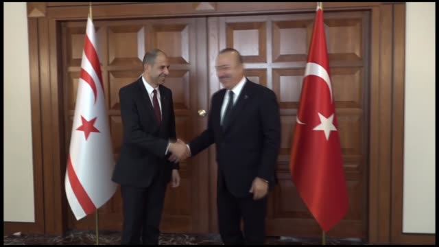 Turkish Foreign Affairs Minister Mevlut Cavusoglu meets Turkish Cypriot counterpart Kudret Ozersay in Ankara Turkey on October 16 2018