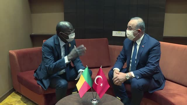 turkish foreign affairs minister mevlut cavusoglu meets with minister for foreign affairs and international cooperation of benin, aurelien agbenonci... - ニアメ点の映像素材/bロール