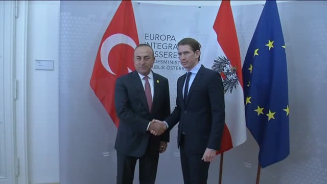 turkish foreign minister mevlut cavusoglu and austrian foreign minister sebastian kurz hold meeting in vienna austria on may 17 2016 - österreichische kultur stock-videos und b-roll-filmmaterial