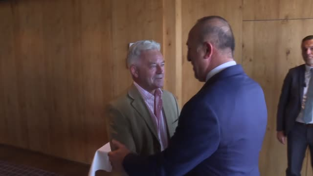 turkish foreign minister mevlut cavusoglu and british minister for europe and the americas alan duncan hold a meeting on the sidelines of the ongoing... - alan duncan stock videos & royalty-free footage