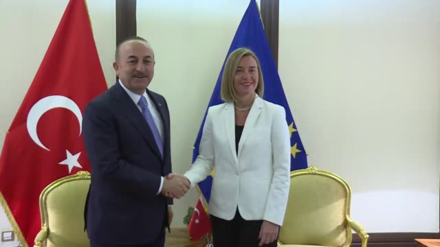 Turkish Foreign Minister Mevlut Cavusoglu and Federica Mogherini the High Representative of the EU for Foreign Affairs and Security Policy and...