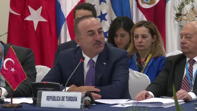turkish foreign minister mevlut cavusoglu and guatemalan foreign minister sandra erica jovel polanco attend the third political forum of the council... - foreign minister stock videos and b-roll footage