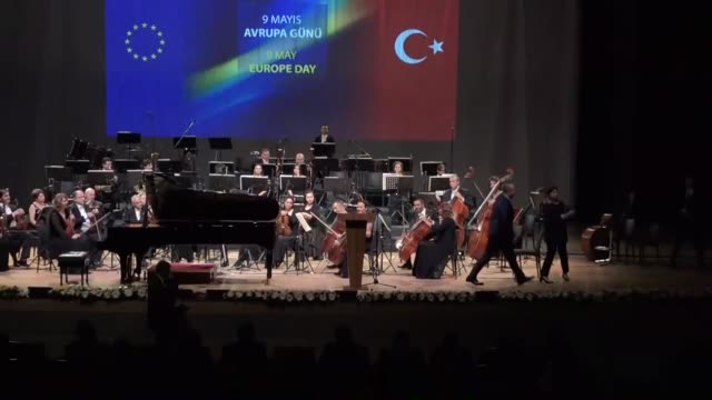 stockvideo's en b-roll-footage met turkish foreign minister mevlut cavusoglu and head of the eu delegation to turkey christian berger attend the europe day reception at the ato... - videoato