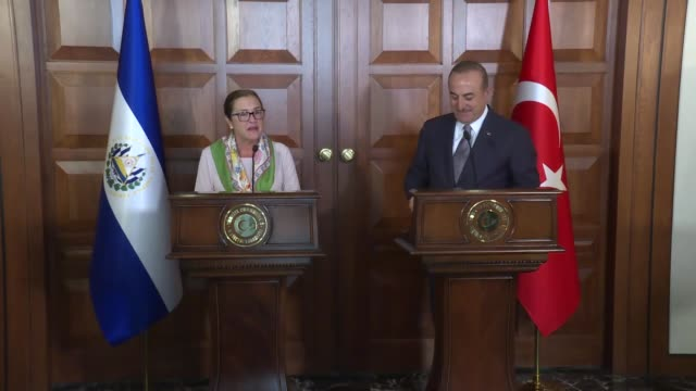 turkish foreign minister mevlut cavusoglu and his el salvadorian counterpart alexandra hill hold a joint press conference following their meeting in... - foreign minister stock videos and b-roll footage