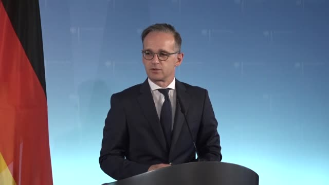 turkish foreign minister mevlut cavusoglu and his german counterpart heiko maas hold a joint press conference following their meeting in berlin... - government minister stock videos & royalty-free footage