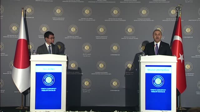Turkish Foreign Minister Mevlut Cavusoglu and his Japanese counterpart Taro Kono attend a joint press conference following their meeting in Ankara...