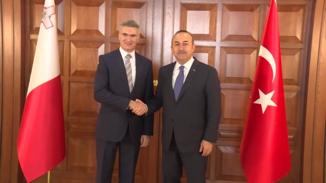 Turkish Foreign Minister Mevlut Cavusoglu and his Maltese counterpart Hon Carmelo Abela attend the opening ceremony of Maltese Embassy in Ankara...