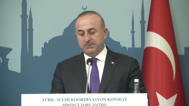 Turkish Foreign Minister Mevlut Cavusoglu and his Saudi Arabian counterpart Adel Al Jubeir holds joint press conference in Ankara Turkey on February...
